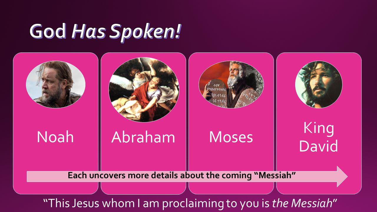 NoahAbrahamMoses King David Each uncovers more details about the coming Messiah This Jesus whom I am proclaiming to you is the Messiah
