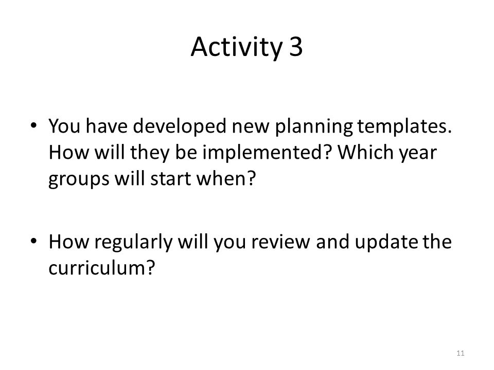 Activity 3 You have developed new planning templates.