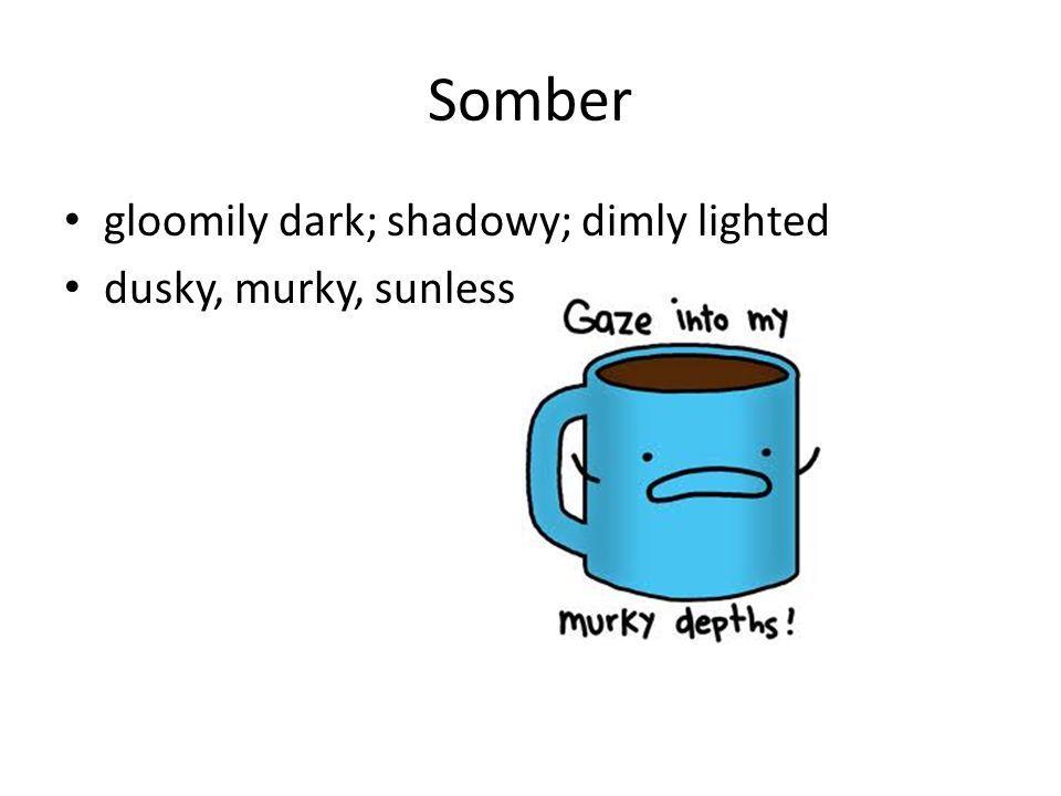 Somber gloomily dark; shadowy; dimly lighted dusky, murky, sunless