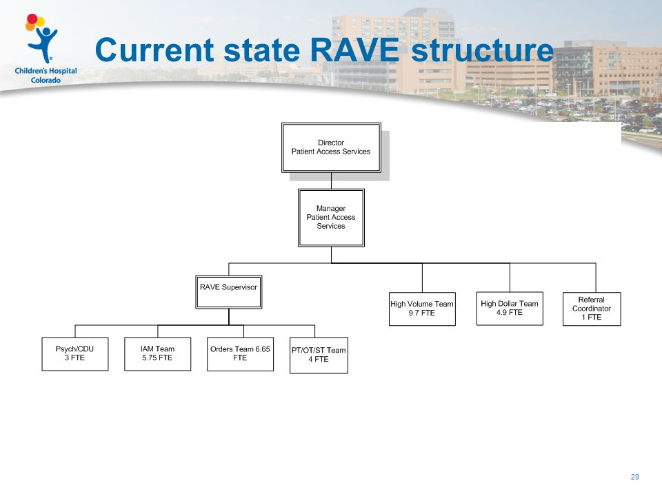 Current state RAVE structure 29