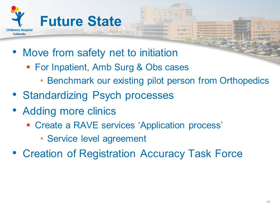 Future State Move from safety net to initiation  For Inpatient, Amb Surg & Obs cases Benchmark our existing pilot person from Orthopedics Standardizing Psych processes Adding more clinics  Create a RAVE services 'Application process' Service level agreement Creation of Registration Accuracy Task Force 31