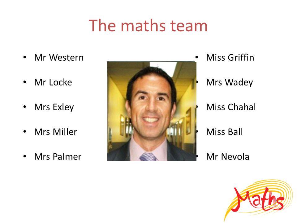 The maths team Mr Western Mr Locke Mrs Exley Mrs Miller Mrs Palmer Miss Griffin Mrs Wadey Miss Chahal Miss Ball Mr Nevola