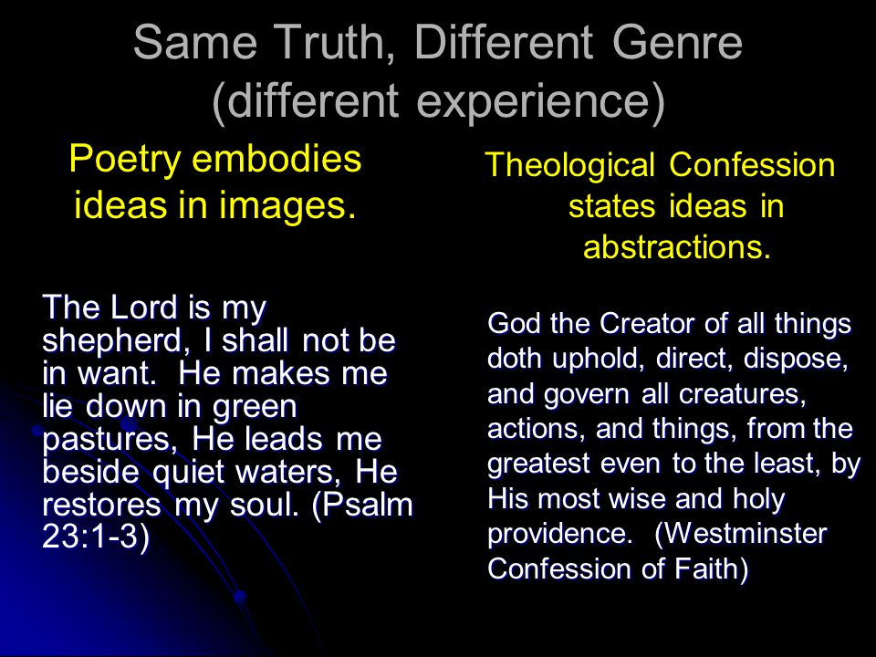 Same Truth, Different Genre (different experience) Poetry embodies ideas in images. The Lord is my shepherd, I shall not be in want. He makes me lie d