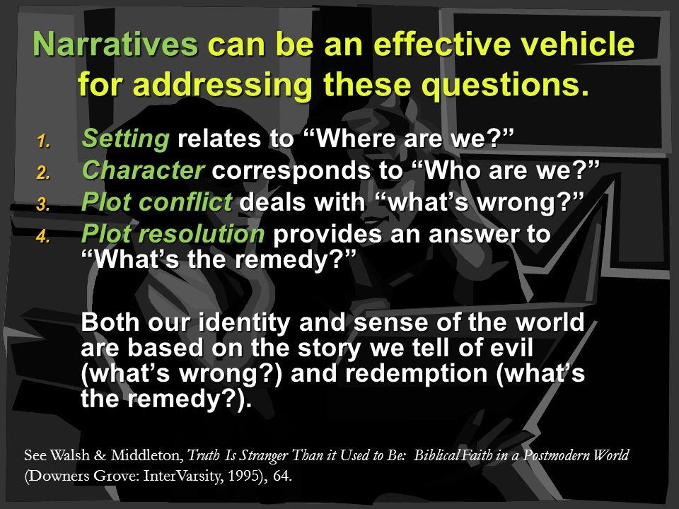1. Setting relates to Where are we 2. Character corresponds to Who are we 3.