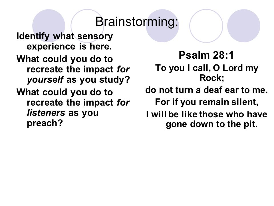 Brainstorming: Identify what sensory experience is here.