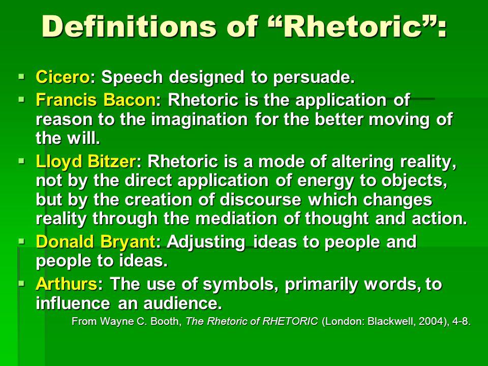 Definitions of Rhetoric :  Cicero: Speech designed to persuade.