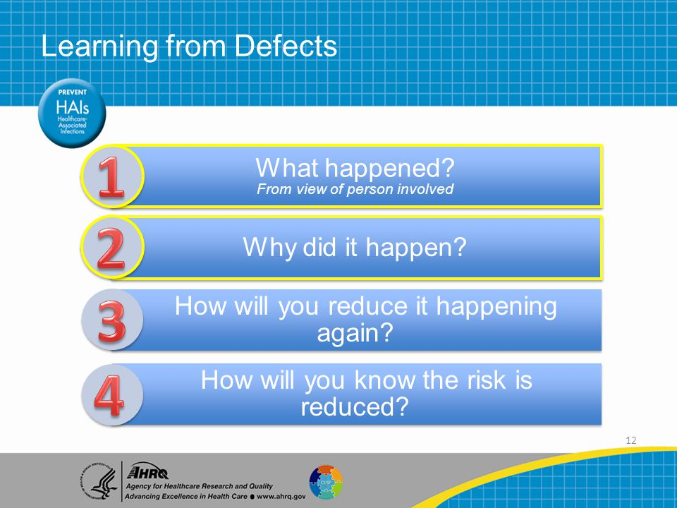 12 Learning from Defects What happened. From view of person involved Why did it happen.