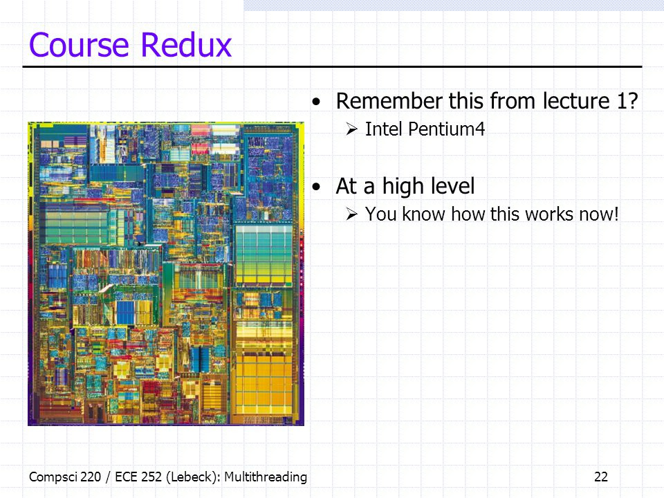 Compsci 220 / ECE 252 (Lebeck): Multithreading22 Course Redux Remember this from lecture 1.