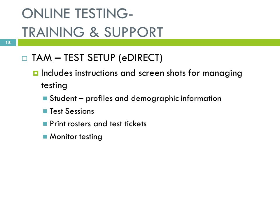 ONLINE TESTING- TRAINING & SUPPORT  TAM – TEST SETUP (eDIRECT)  Includes instructions and screen shots for managing testing Student – profiles and demographic information Test Sessions Print rosters and test tickets Monitor testing 18