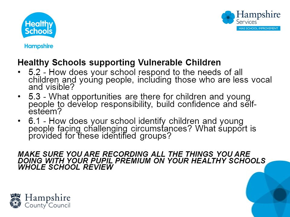Healthy Schools supporting Vulnerable Children 5.2 - How does your school respond to the needs of all children and young people, including those who a