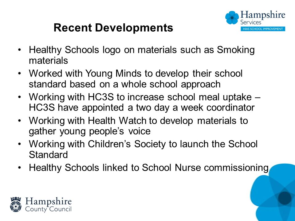 Recent Developments Healthy Schools logo on materials such as Smoking materials Worked with Young Minds to develop their school standard based on a wh