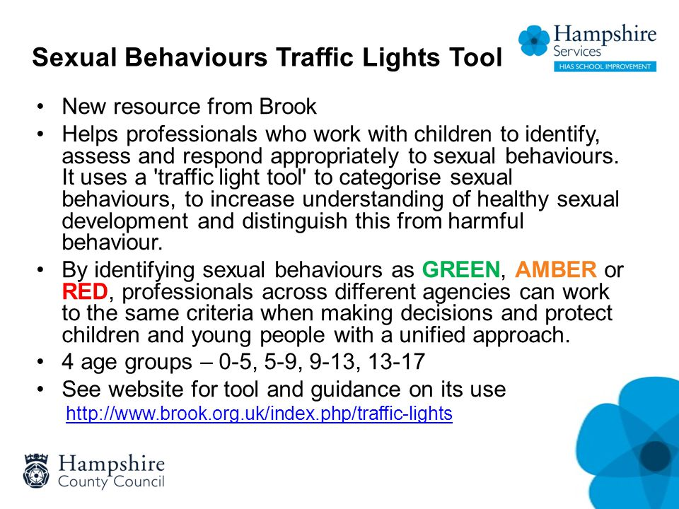 Sexual Behaviours Traffic Lights Tool New resource from Brook Helps professionals who work with children to identify, assess and respond appropriately