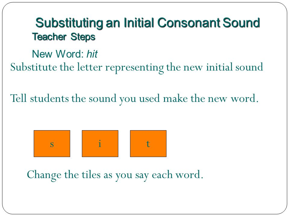 Substituting an Initial Consonant Sound Teacher Steps New Word: hit sit Substitute the letter representing the new initial sound h Tell students the s