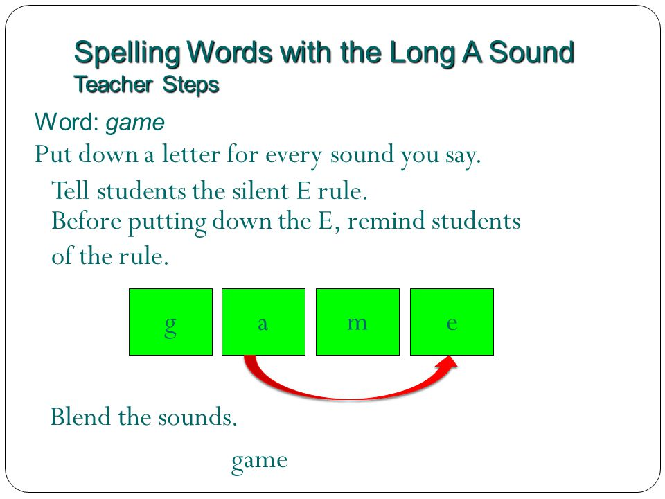 Spelling Words with the Long A Sound Teacher Steps Word: game m Tell students the silent E rule. Blend the sounds. game Put down a letter for every so
