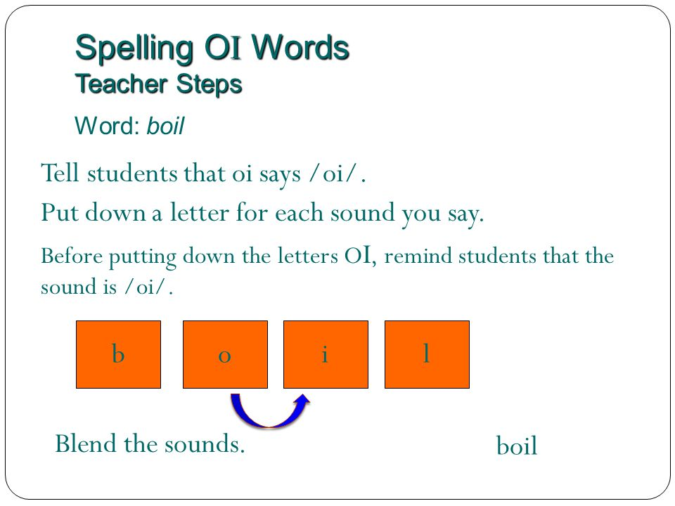Spelling O I Words Teacher Steps Word: boil i Tell students that oi says /oi/. Blend the sounds. boil Put down a letter for each sound you say. lob Be
