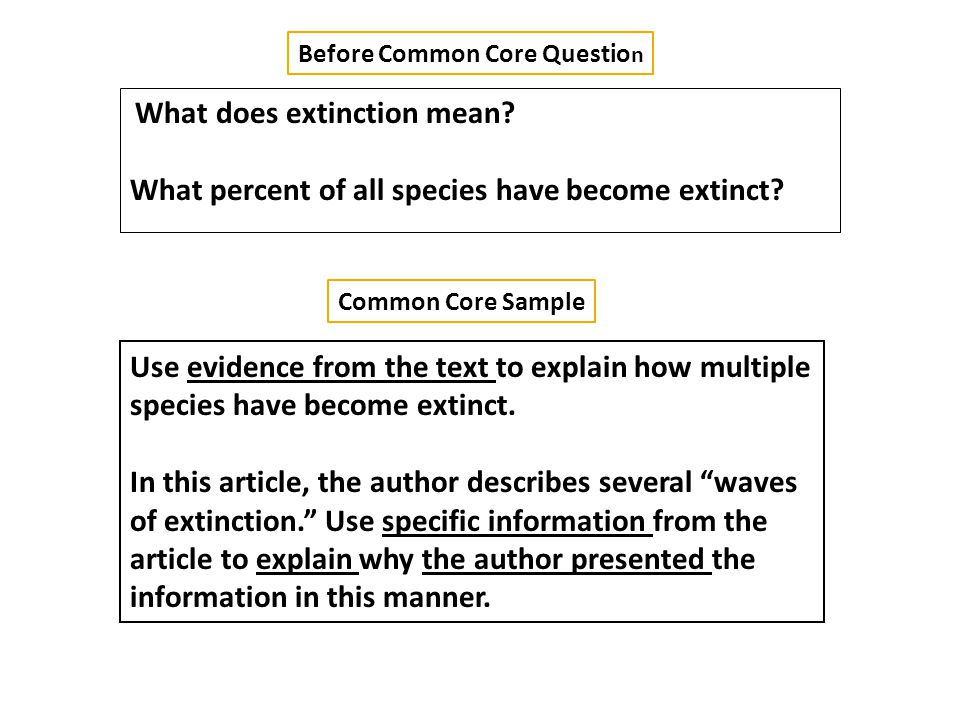 Before Common Core Questio n Common Core Sample What does extinction mean.