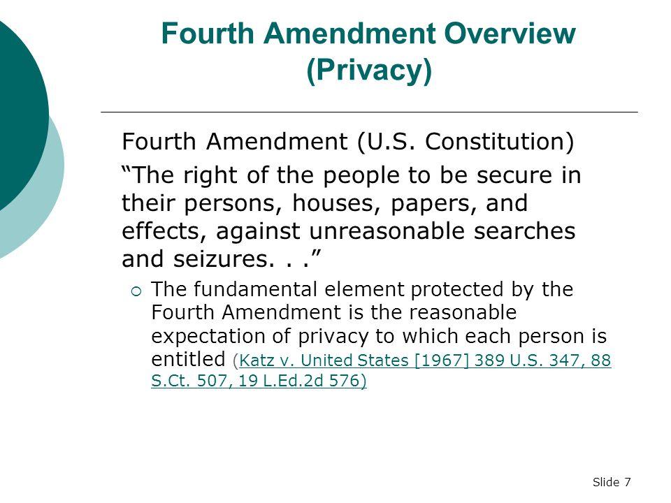 Slide 7 Fourth Amendment Overview (Privacy) Fourth Amendment (U.S.
