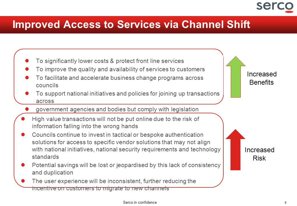 8 Serco in confidence Improved Access to Services via Channel Shift ● To significantly lower costs & protect front line services ● To improve the quality and availability of services to customers ● To facilitate and accelerate business change programs across councils ● To support national initiatives and policies for joining up transactions across ● government agencies and bodies but comply with legislation ● High value transactions will not be put online due to the risk of information falling into the wrong hands ● Councils continue to invest in tactical or bespoke authentication solutions for access to specific vendor solutions that may not align with national initiatives, national security requirements and technology standards ● Potential savings will be lost or jeopardised by this lack of consistency and duplication ● The user experience will be inconsistent, further reducing the incentive on customers to migrate to new channels Increased Benefits Increased Risk