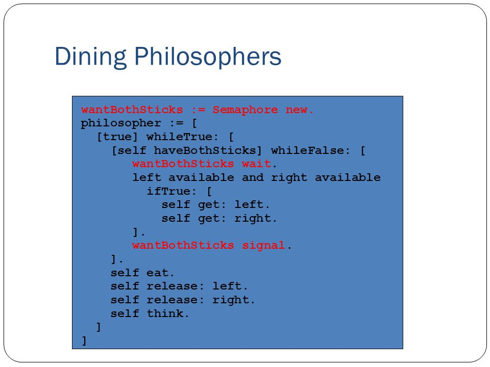 Dining Philosophers wantBothSticks := Semaphore new.