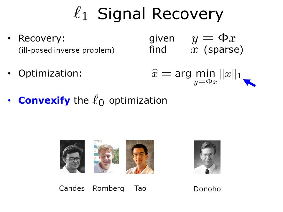 Recovery:given (ill-posed inverse problem) find (sparse) Optimization: Convexify the optimization Signal Recovery Candes Romberg Tao Donoho