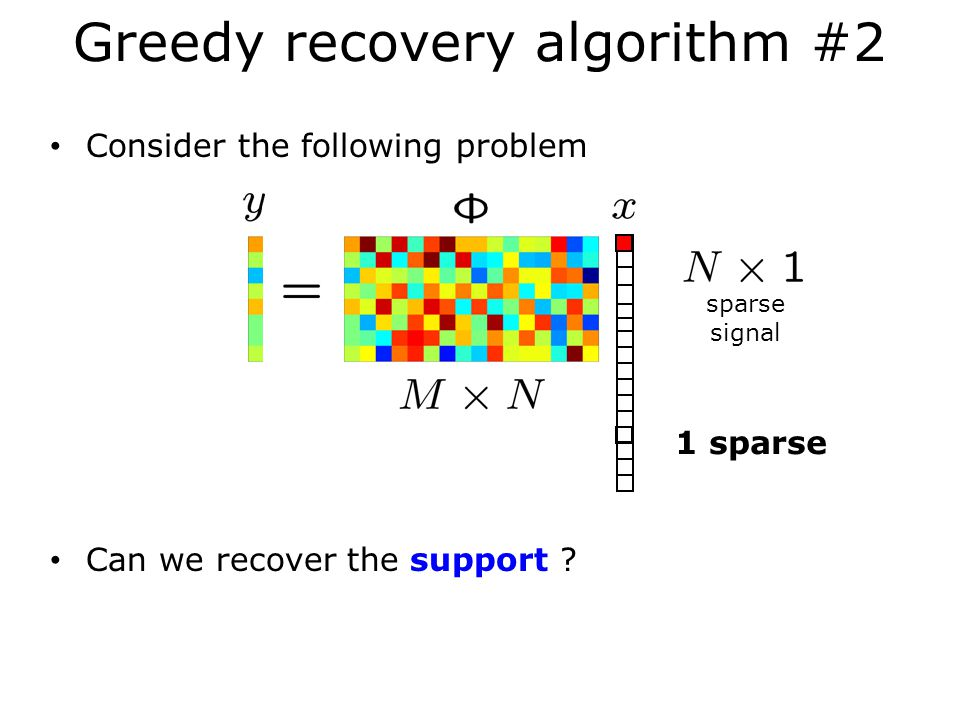 Greedy recovery algorithm #2 Consider the following problem Can we recover the support .
