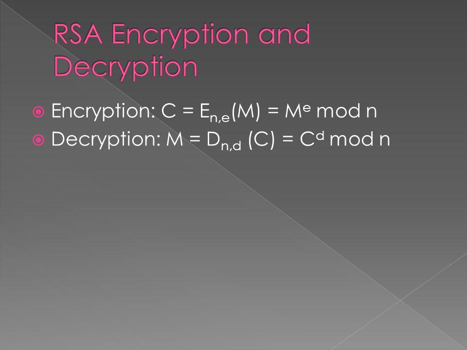  Encryption: C = E n,e (M) = M e mod n  Decryption: M = D n,d (C) = C d mod n