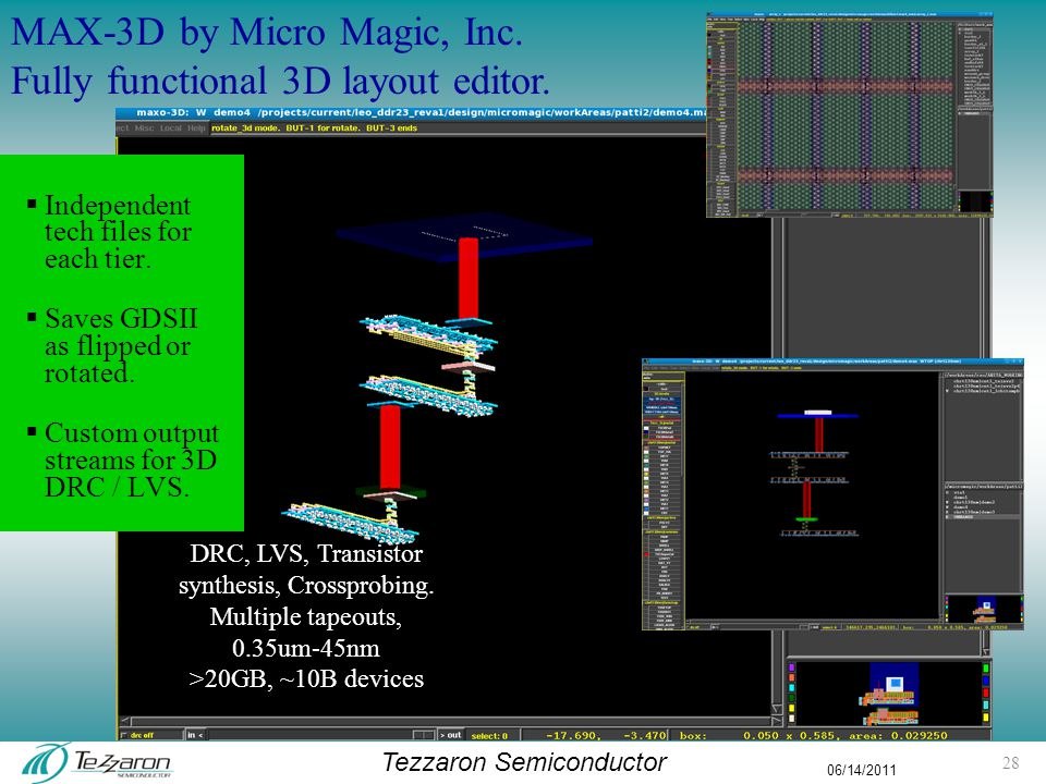 Tezzaron Semiconductor 06/14/2011 DRC, LVS, Transistor synthesis, Crossprobing.