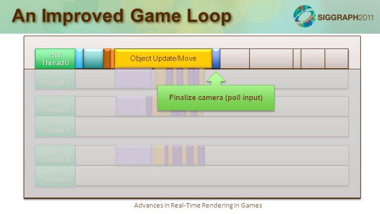 Advances in Real-Time Rendering in Games An Improved Game Loop Simulation loop: 75-100% Job kernel: 20-30% Render loop: 70-100% Audio loop: 50-80% Job kernel, debug logging: 20-30% Async tasks, socket polling, misc: 10-30% with bursts of 100% utilization HW Thread 0 HW Thread 1 HW Thread 2 HW Thread 3 HW Thread 4 HW Thread 5 Object Update/Move Finalize camera (poll input)