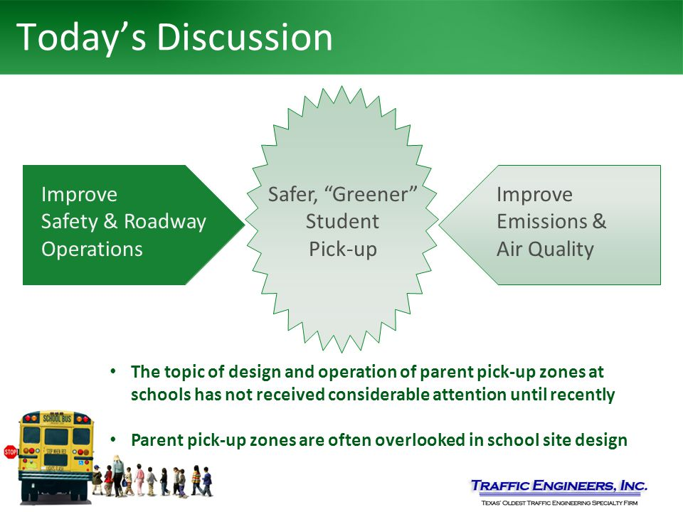 Today's Discussion Improve Safety & Roadway Operations Improve Emissions & Air Quality Safer, Greener Student Pick-up The topic of design and operation of parent pick-up zones at schools has not received considerable attention until recently Parent pick-up zones are often overlooked in school site design Improve Safety & Roadway Operations