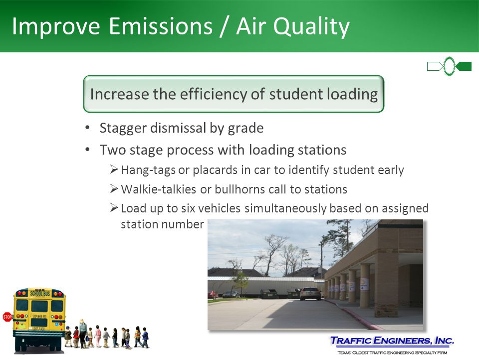 Improve Emissions / Air Quality Stagger dismissal by grade Two stage process with loading stations  Hang-tags or placards in car to identify student