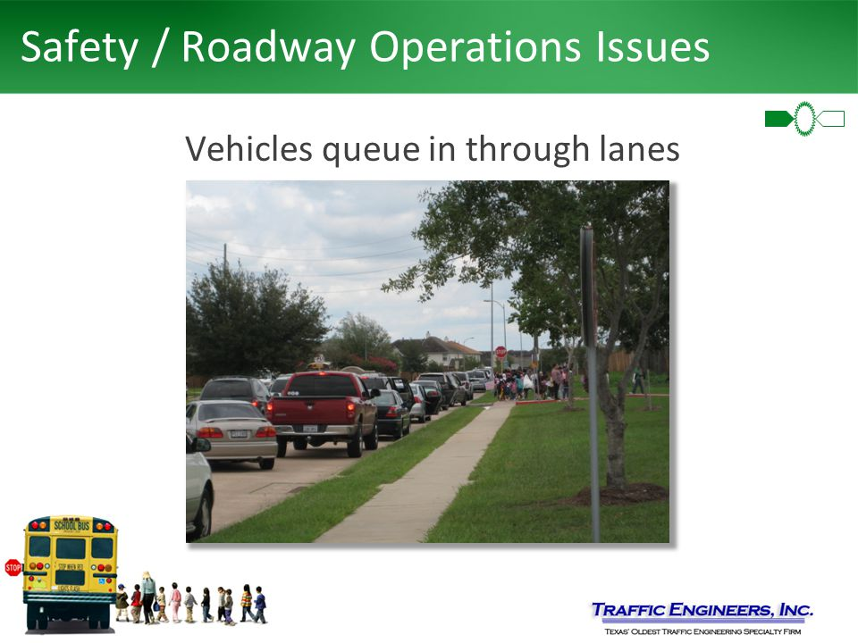 Safety / Roadway Operations Issues Vehicles queue in through lanes