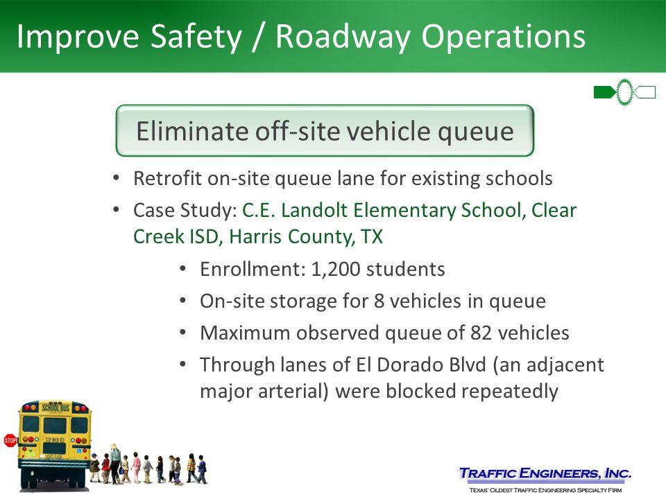 Improve Safety / Roadway Operations Eliminate off-site vehicle queue Retrofit on-site queue lane for existing schools Case Study: C.E. Landolt Element