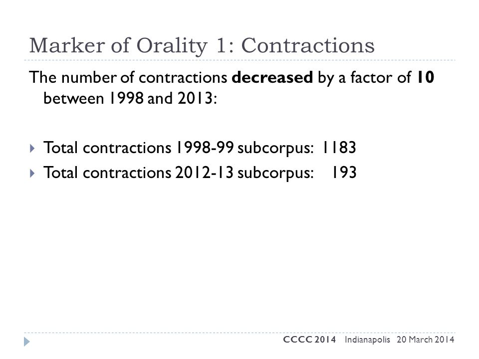 Marker of Orality 1: Contractions The number of contractions decreased by a factor of 10 between 1998 and 2013:  Total contractions 1998-99 subcorpus