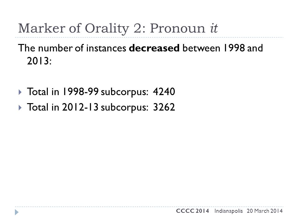 Marker of Orality 2: Pronoun it The number of instances decreased between 1998 and 2013:  Total in 1998-99 subcorpus: 4240  Total in 2012-13 subcorp