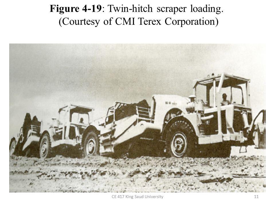 CE 417 King Saud University11 Figure 4-19: Twin-hitch scraper loading.