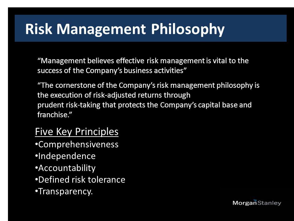 Risk Management Philosophy Five Key Principles Comprehensiveness Independence Accountability Defined risk tolerance Transparency.