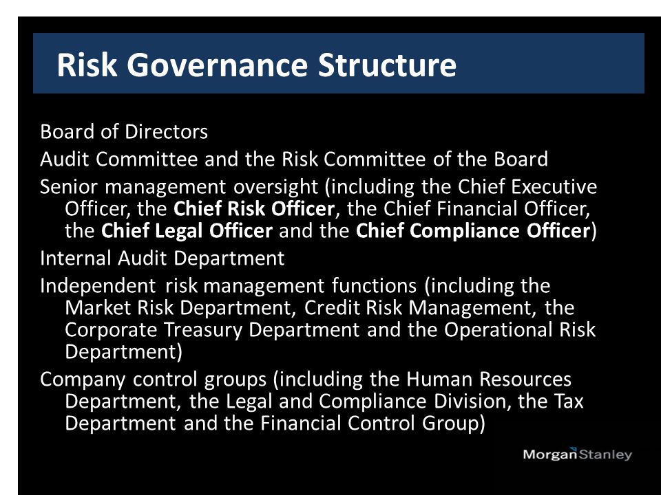 Risk Governance Structure Board of Directors Audit Committee and the Risk Committee of the Board Senior management oversight (including the Chief Executive Officer, the Chief Risk Officer, the Chief Financial Officer, the Chief Legal Officer and the Chief Compliance Officer) Internal Audit Department Independent risk management functions (including the Market Risk Department, Credit Risk Management, the Corporate Treasury Department and the Operational Risk Department) Company control groups (including the Human Resources Department, the Legal and Compliance Division, the Tax Department and the Financial Control Group)