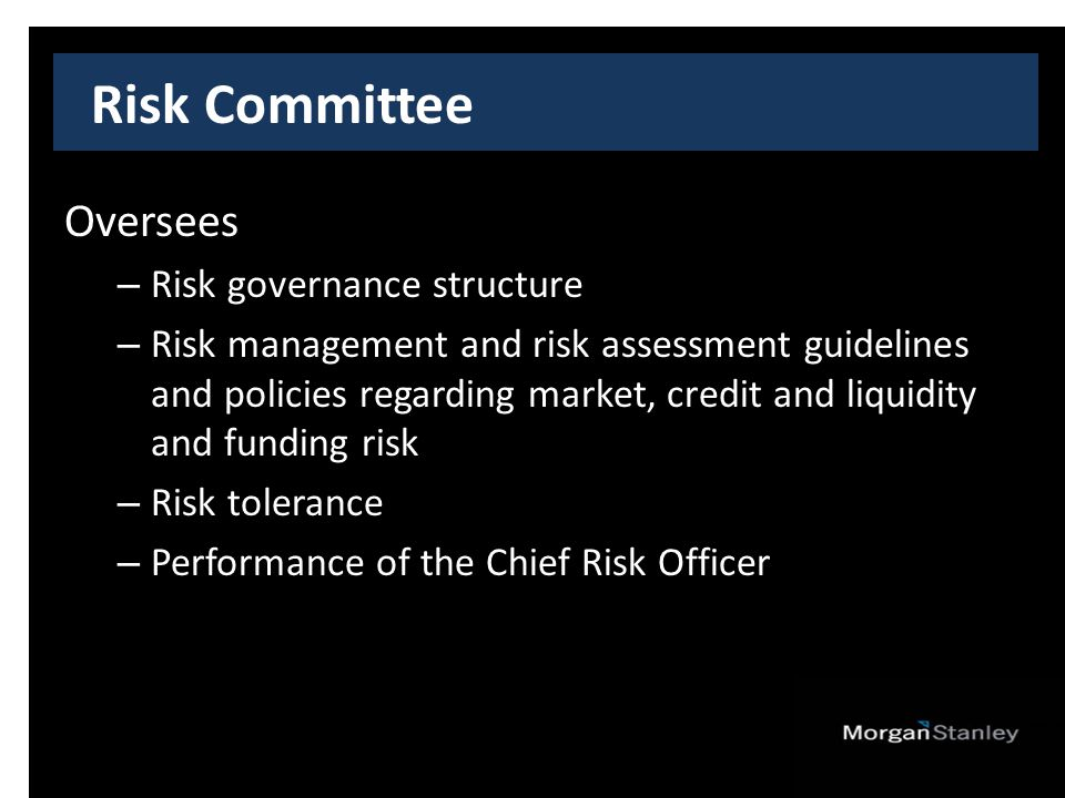 Risk Committee Oversees – Risk governance structure – Risk management and risk assessment guidelines and policies regarding market, credit and liquidity and funding risk – Risk tolerance – Performance of the Chief Risk Officer