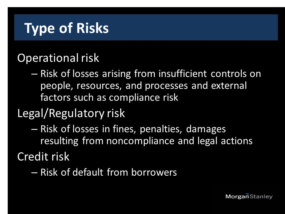 Type of Risks Operational risk – Risk of losses arising from insufficient controls on people, resources, and processes and external factors such as compliance risk Legal/Regulatory risk – Risk of losses in fines, penalties, damages resulting from noncompliance and legal actions Credit risk – Risk of default from borrowers
