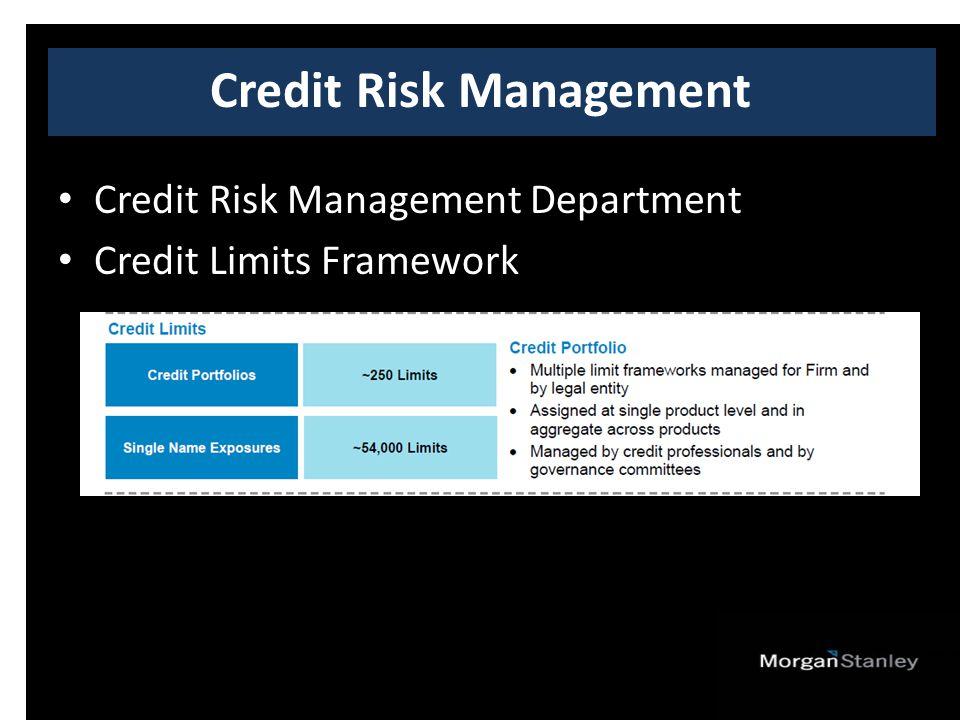 Credit Risk Management Department Credit Limits Framework Credit Risk Management