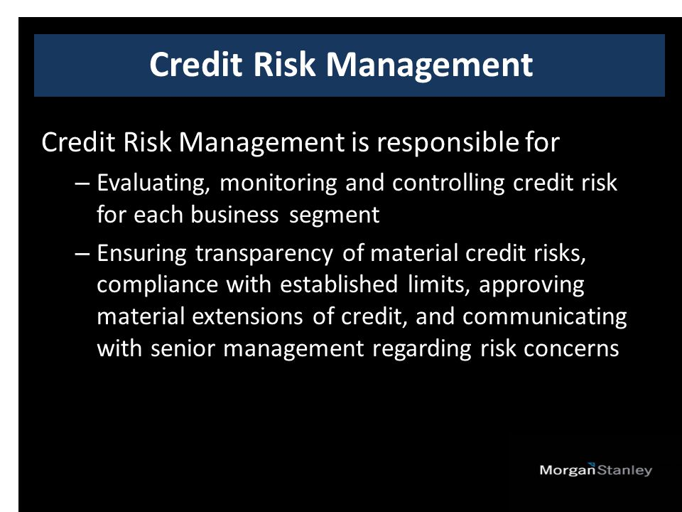 Credit Risk Management is responsible for – Evaluating, monitoring and controlling credit risk for each business segment – Ensuring transparency of material credit risks, compliance with established limits, approving material extensions of credit, and communicating with senior management regarding risk concerns Credit Risk Management