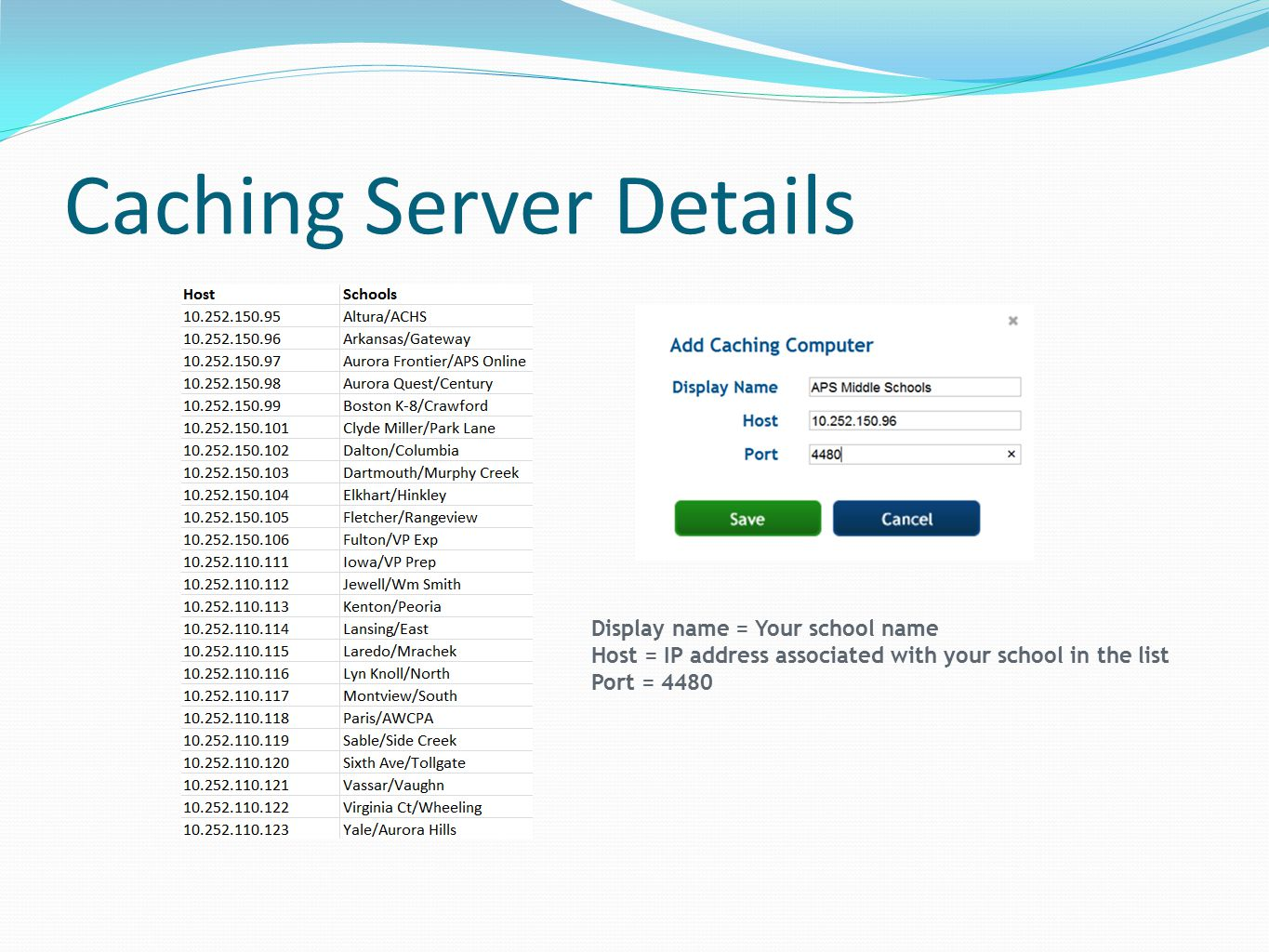 Caching Server Details Display name = Your school name Host = IP address associated with your school in the list Port = 4480