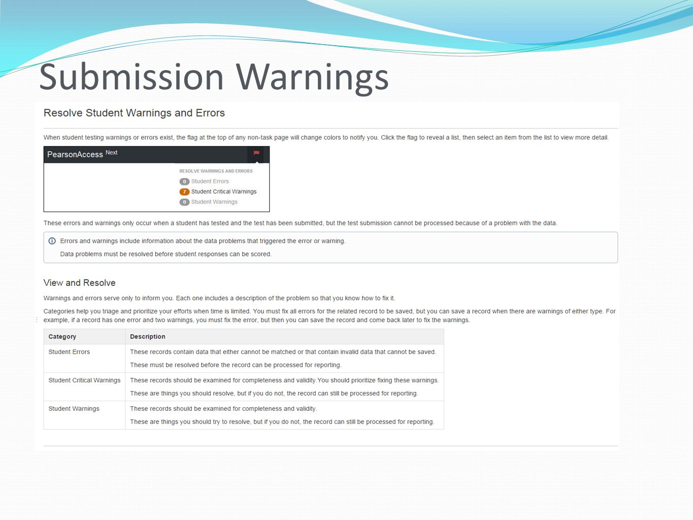 Submission Warnings
