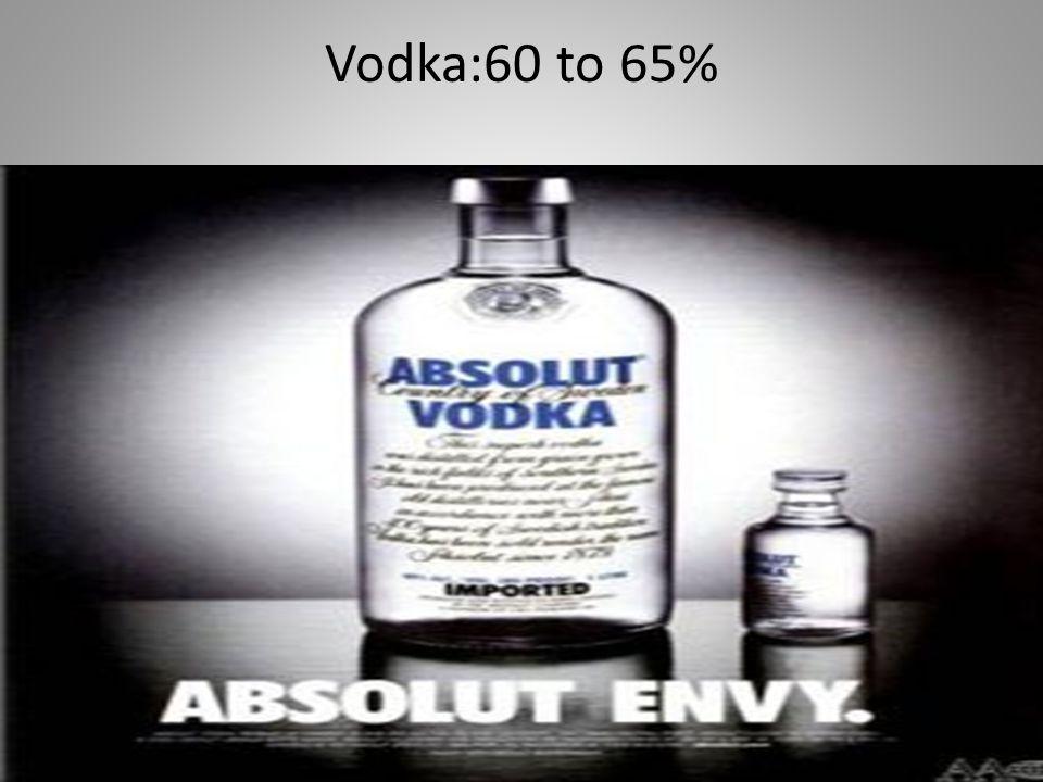 Vodka:60 to 65%