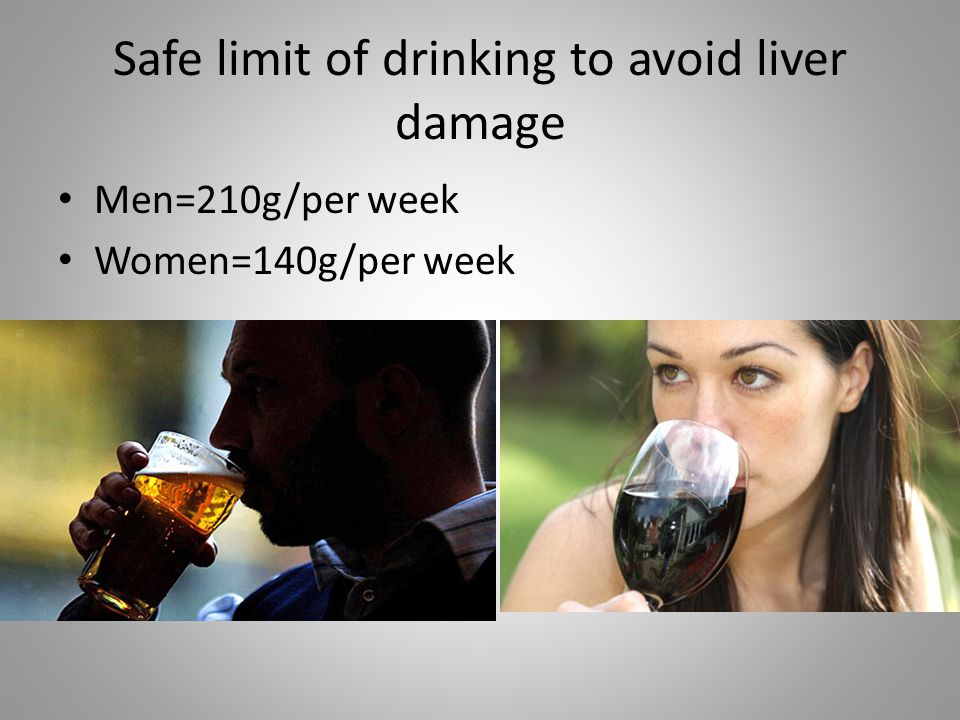 Safe limit of drinking to avoid liver damage Men=210g/per week Women=140g/per week