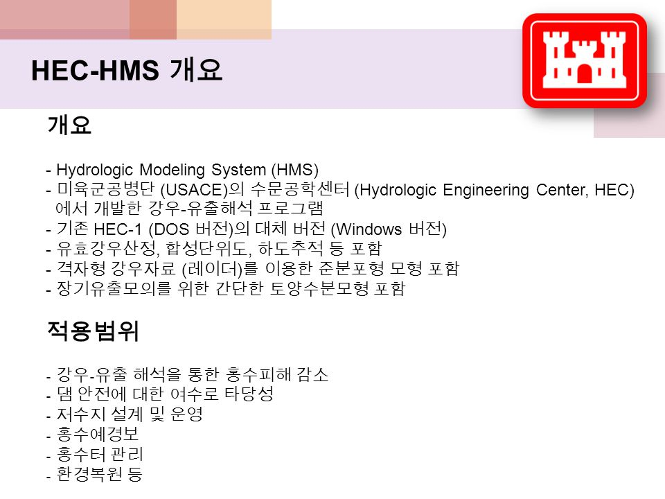 HEC-HMS 개요 개요 - Hydrologic Modeling System (HMS) - 미육군공병단 (USACE) 의 수문공학센터 (Hydrologic Engineering Center, HEC) 에서 개발한 강우 - 유출해석 프로그램 - 기존 HEC-1 (DOS