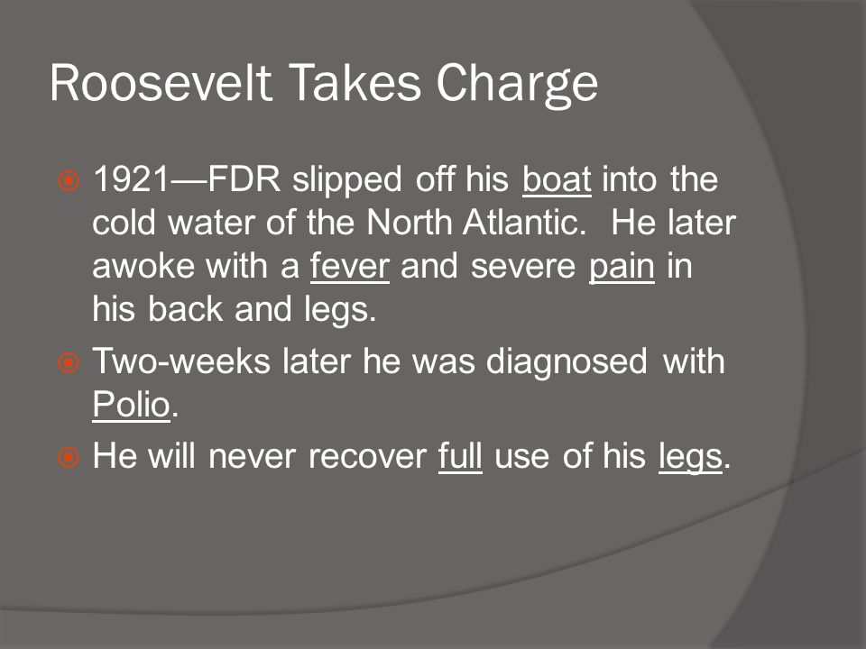 Roosevelt Takes Charge  1921—FDR slipped off his boat into the cold water of the North Atlantic. He later awoke with a fever and severe pain in his b