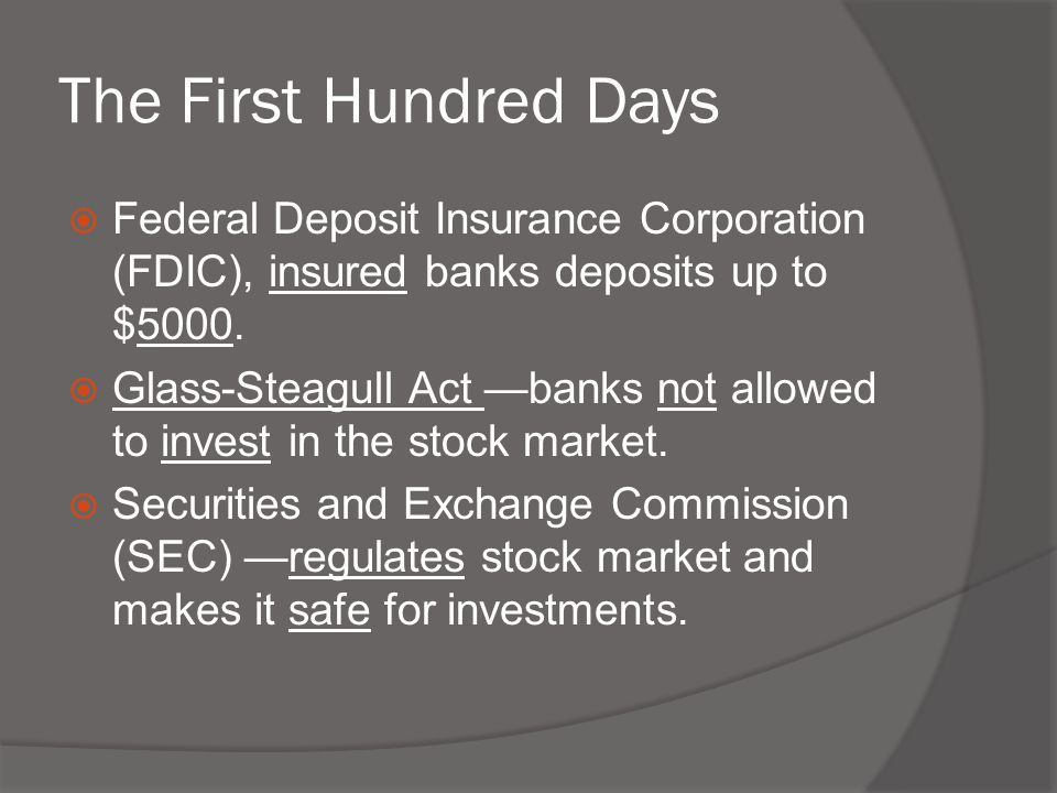  Federal Deposit Insurance Corporation (FDIC), insured banks deposits up to $5000.  Glass-Steagull Act —banks not allowed to invest in the stock mar