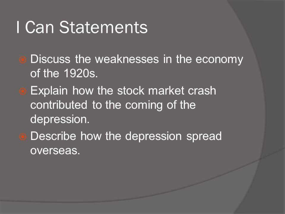 Causes of the Depression  They did not have the cash to buy the new consumer goods produced by industries.