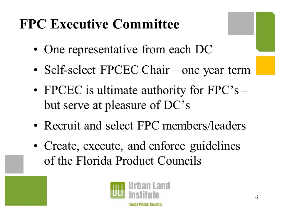 FPC Executive Committee One representative from each DC Self-select FPCEC Chair – one year term FPCEC is ultimate authority for FPC's – but serve at p
